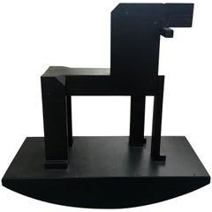 Late 20th Century Roland Gebhardt Prototype Black Rocking Horse Wood Sculpture