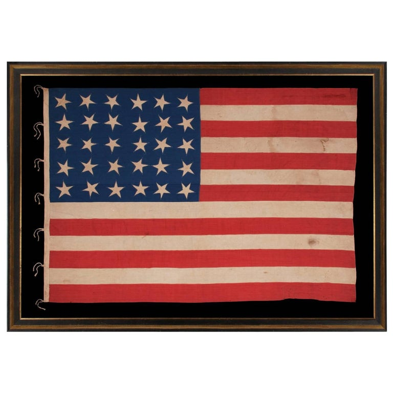 30 Stars on an Antique American Flag Made in the Period Between 1870-1890