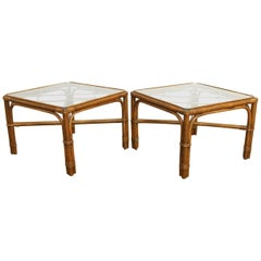 Pair of Bamboo Rattan Side Tables by Brown Jordan