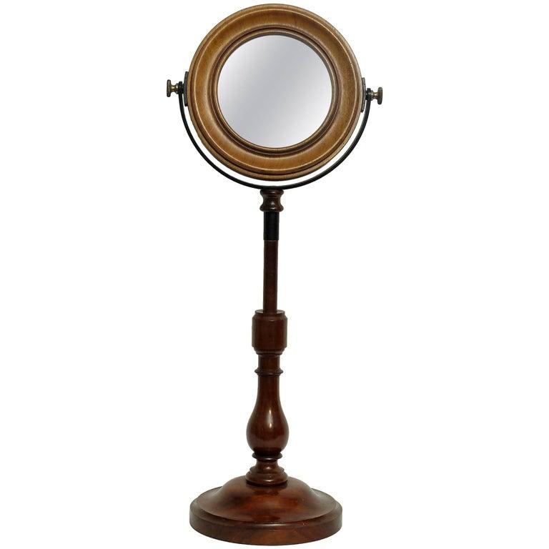 Adjustable Table Mirror on Wooden Base, France, circa 1880