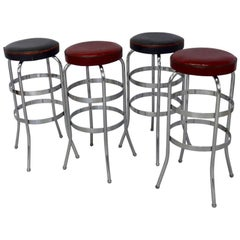 Set of Four Lloyd Chrome Art Deco Barstools