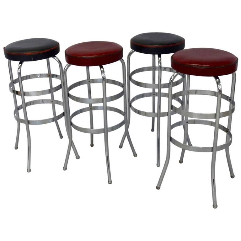 Set of Four Lloyd Chrome Art Deco Barstools For Sale