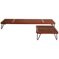 Low Slatted Wood Midcentury Display Tables