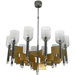 Chandelier Brass Chrome by Sciolari, Italy, 1970s