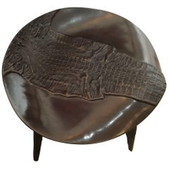 Rare Bronze Stool Top Depicting a Crocodile