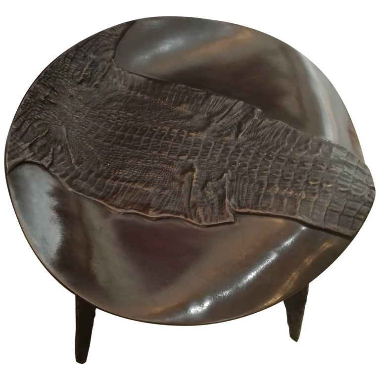 Rare Bronze Stool Top Depicting a Crocodile For Sale