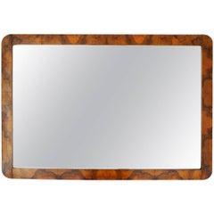 Italian Midcentury Briar Wood Frame Mirror, 1940s