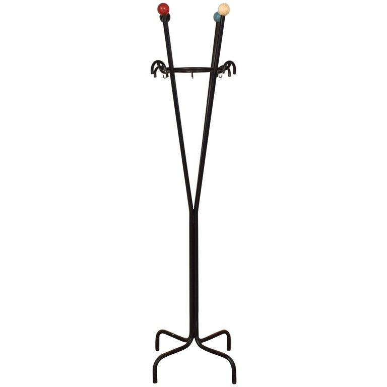 Midcentury Italian Coat Rack in Lacquered Metal and Wooden Balls, 1960