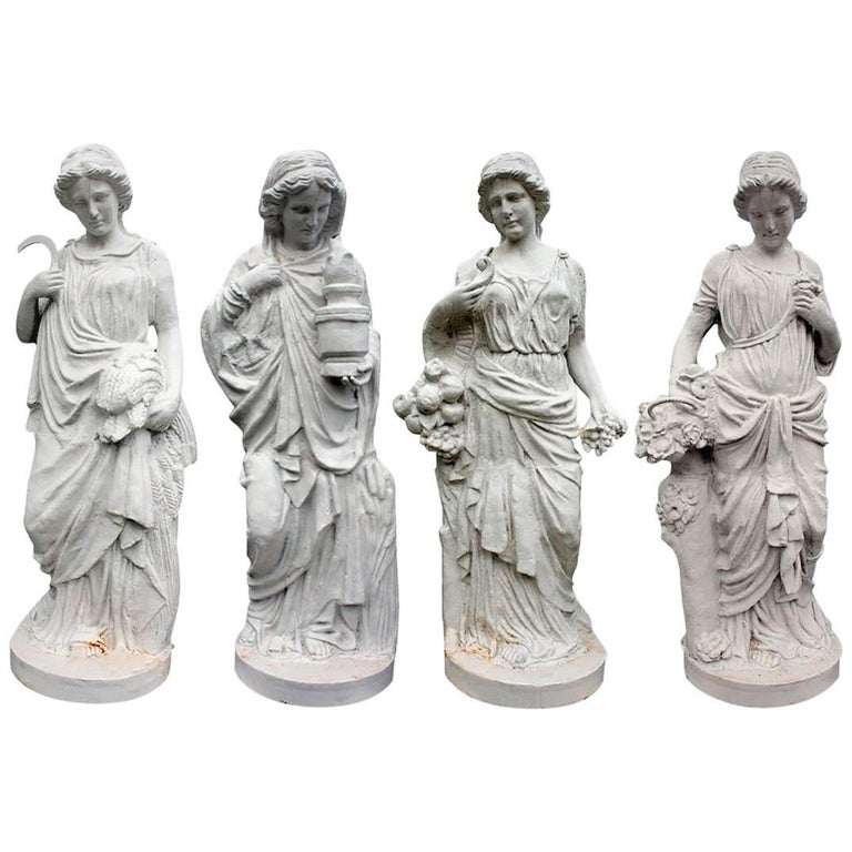 Cast Iron Set of Four Seasons Sculptures in White
