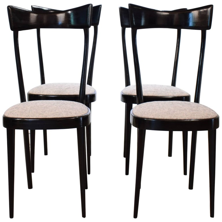 Set of Four Italian Midcentury Dining Chairs in the Manner of Ico Parisi, 1950