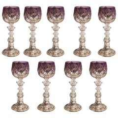 Set of Nine Antique Venetian Crystal Wine Glasses, circa 1920s