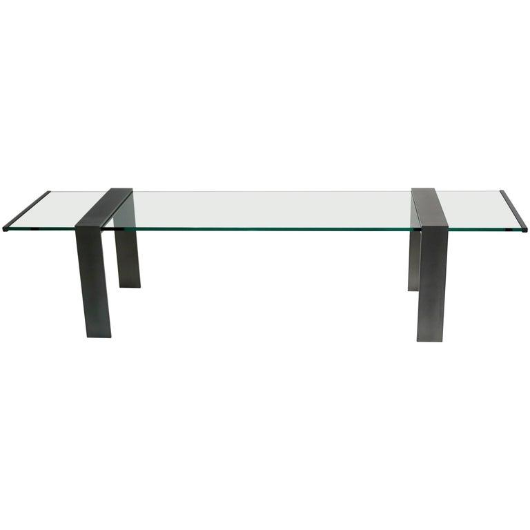 1970s Italian Design Urban Geometric Iron Satin & Crystal Clear Long Sofa Table