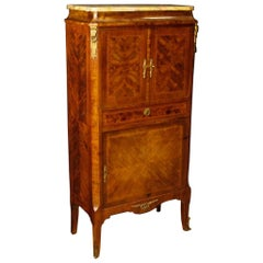 French Inlaid Sideboard in Wood with Marble Top and Gilt Bronzes, 20th Century