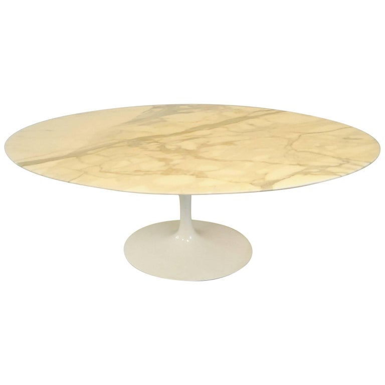 Marble-Top Oval Tulip Dining, Conference Table by Eero Saarinen for Knoll