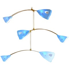 Murano Glass and Solid Brass Mobile Chandelier Sky Blue Glass Elements