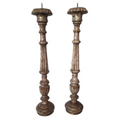 Hand-Carved Wood Candleholders from India, Mid-20th Century