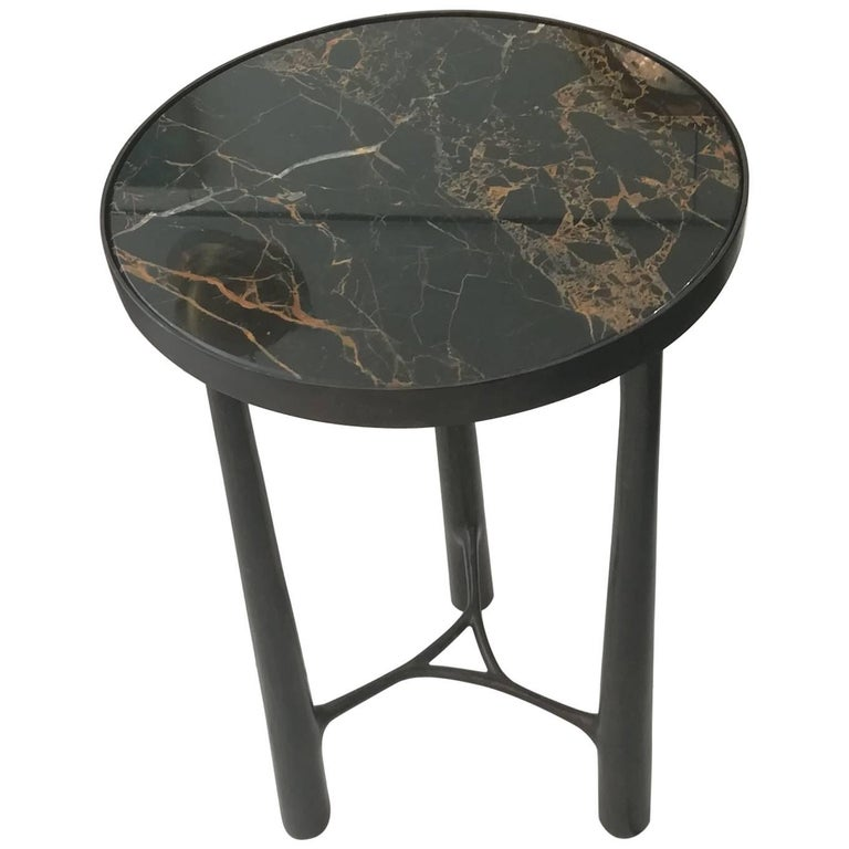 French Gueridon Bronze and Black Marble For Sale
