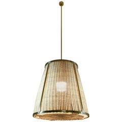 Caeli I Contemporary Monumental Rattan Pendant Light, Flow Collection