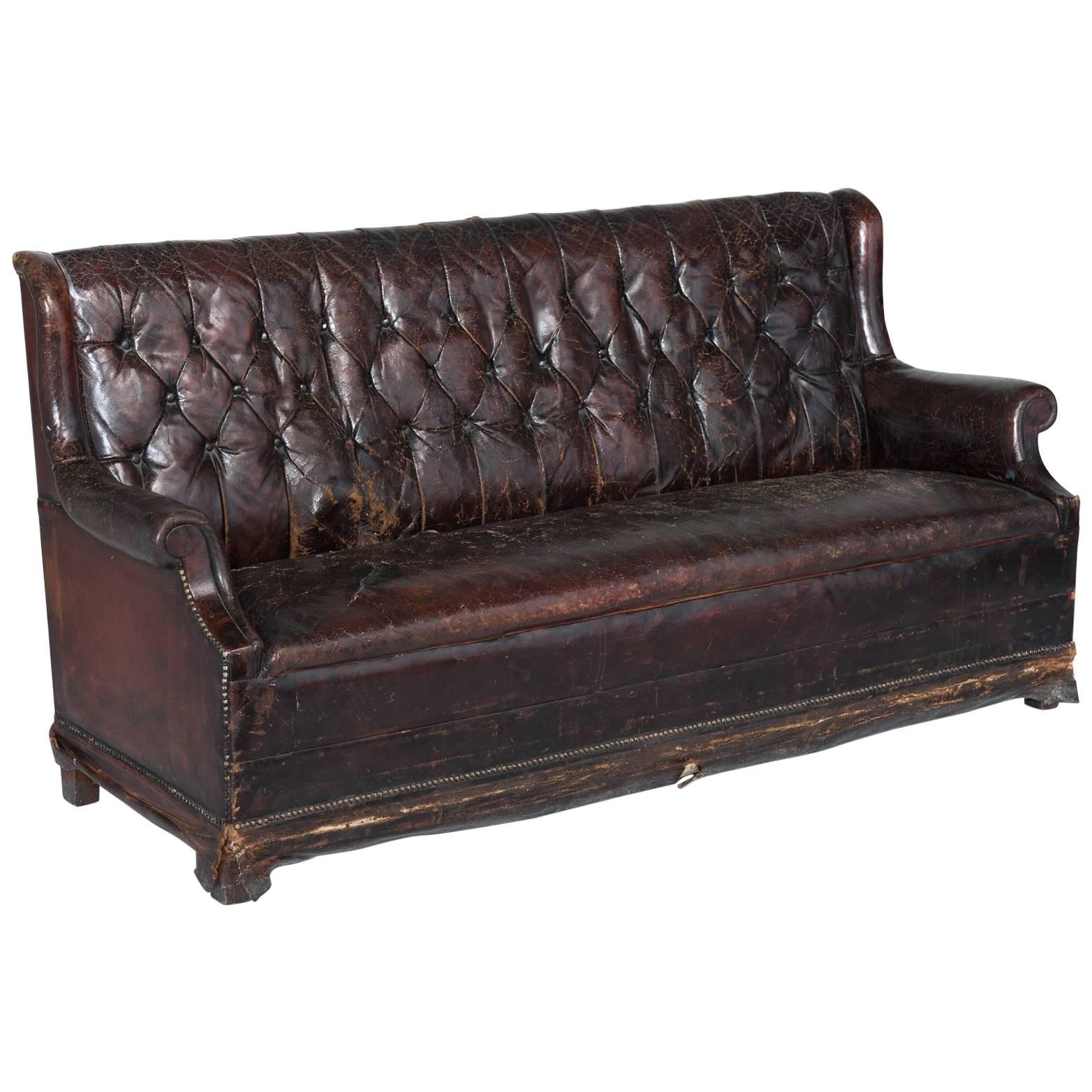 Brass Studded Leather Club Sofa, England, Circa 1860