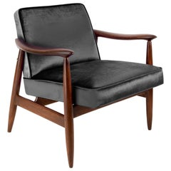 Vintage Velvet Ultra Black Pantone Armchair, 1960s