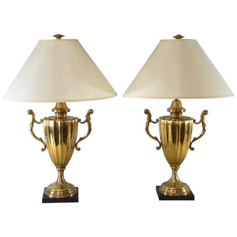 Pair of Large Scale Urn Form Brass Table Lamps by Chapman, 1985