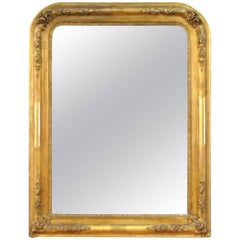 French Louis Philippe Period Gilded Mirror with Hand-Carved Flowers and Leaves