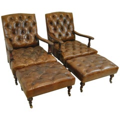 Brown Distressed Leather Library Chairs and Ottomans by Melange Home N.Y.