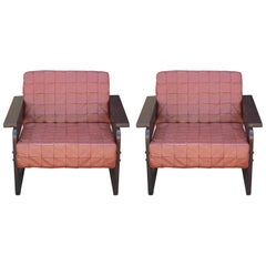 Pair of Modern Percival Lafer Rosewood and Light Brown Leather Lounge Chairs