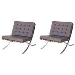Pair of Modern Knoll Style Dark Brown Leather & Chrome Italian Barcelona Chairs