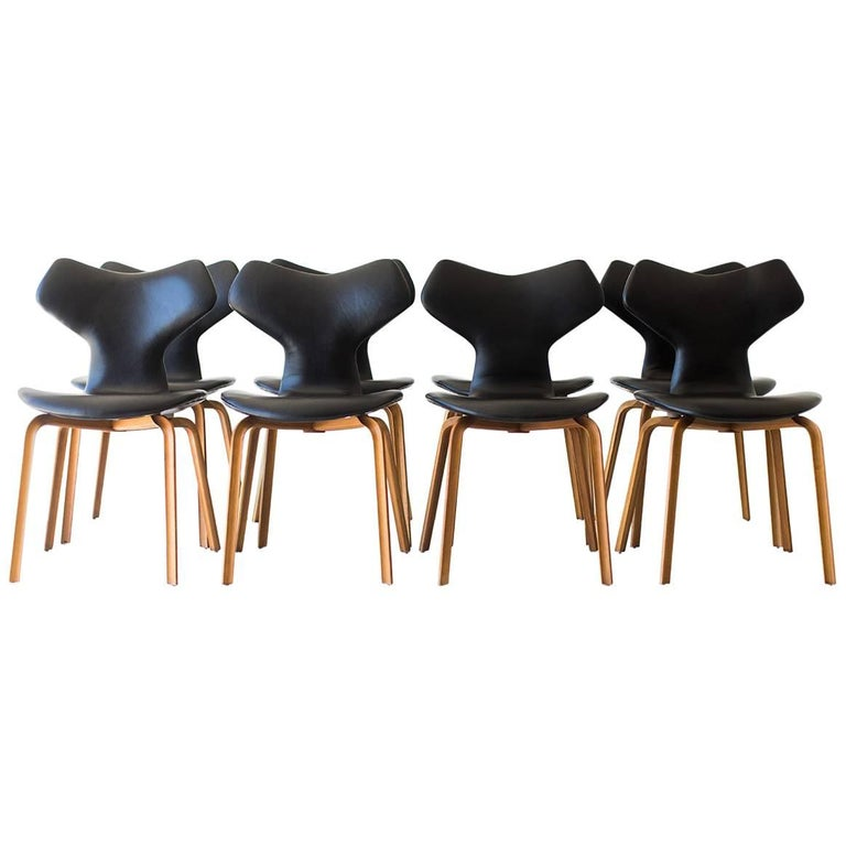 Arne Jacobsen Leather Grand Prix Dining Chairs for Fritz Hansen For Sale