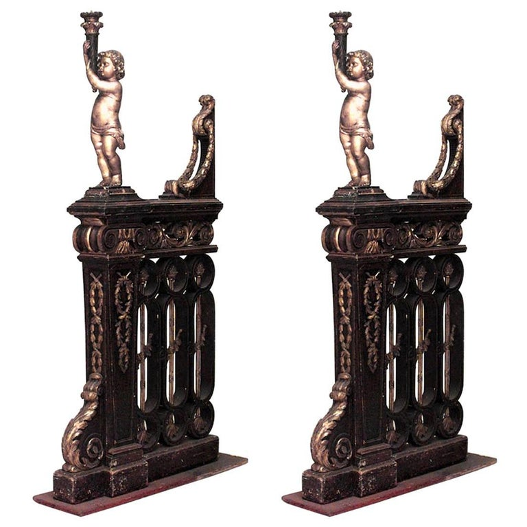 Pair of French Louis XVI Style, 19th Century Walnut & Gilt Trimmed Filigree Rail