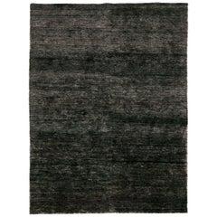 Noche Black Hand-Knotted Jute Rug by Nani Marquina & Ariadna Miquel, Medium
