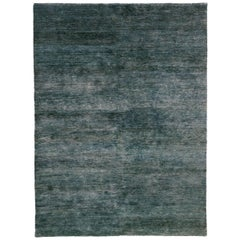 Noche Blue Green Hand-Knotted Jute Rug by Nani Marquina, Ariadna Miquel, Medium