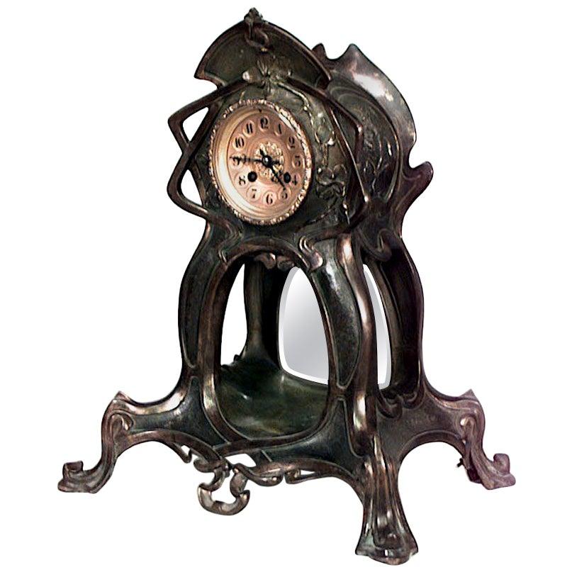 French Art Nouveau Metal Mantel Clock