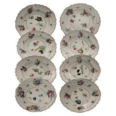 Italy Richard Ginori Mid-18th Century Porcelain Set 8 Dishes Floral Design