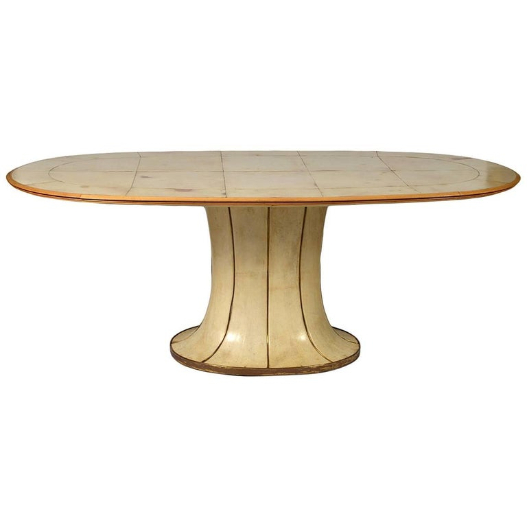 Fabulous French Art Deco Parchment Pedestal Base Dining Table