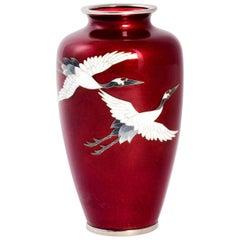 Red Cloisonné Vase Flying Cranes