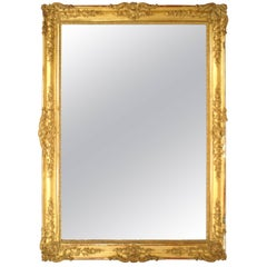 French Louis XV Style '19th Century' Gilt Carved Monumental Framed Mirror