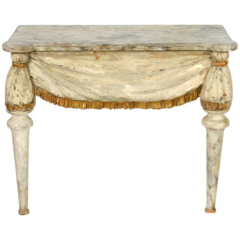 19th Century Italian Carved Wood Console with Faux Marbleized Painted Top