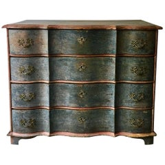 19th Century Danish Serpentine Front Chest in Original Color