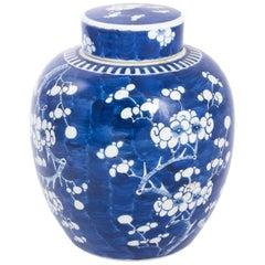 Kangxi Blue White Prunus Blossom Style Large Ginger Jar, circa 1880