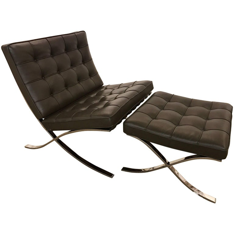 Signed Knoll Barcelona Olive Brown Leather Chair & Ottoman Mies van der Rohe