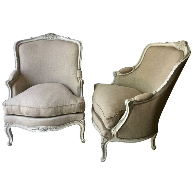 Pair of Louis XV Style Painted Bergères