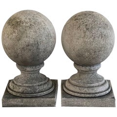 Pair of 19th Century French Antique Limestone Sphere Finials