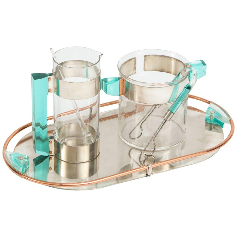 Vintage Rede Guzzini Glass/ Ice Lucite Martini Jug, Ice Bucket and Tray Bar Set
