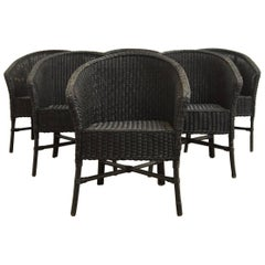 Set of Six Bamboo Wicker Barrel Back Chairs