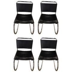 Set of Four Black Leather and Chrome Mies van der Rohe for Knoll Dining Chairs
