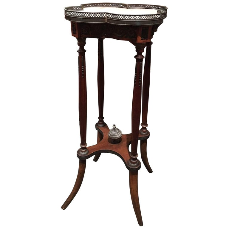 French Plant Stand or Pedestal with Brass Ormolu and Marble Top, 19th Century