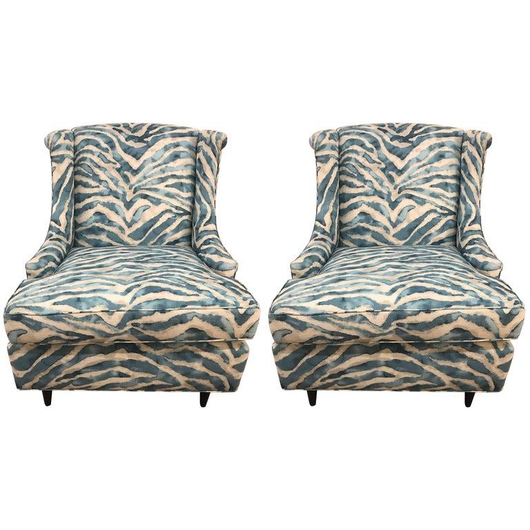 Pair Of Kravet Upholstered Blue Zebra Print Club Wingback Chairs