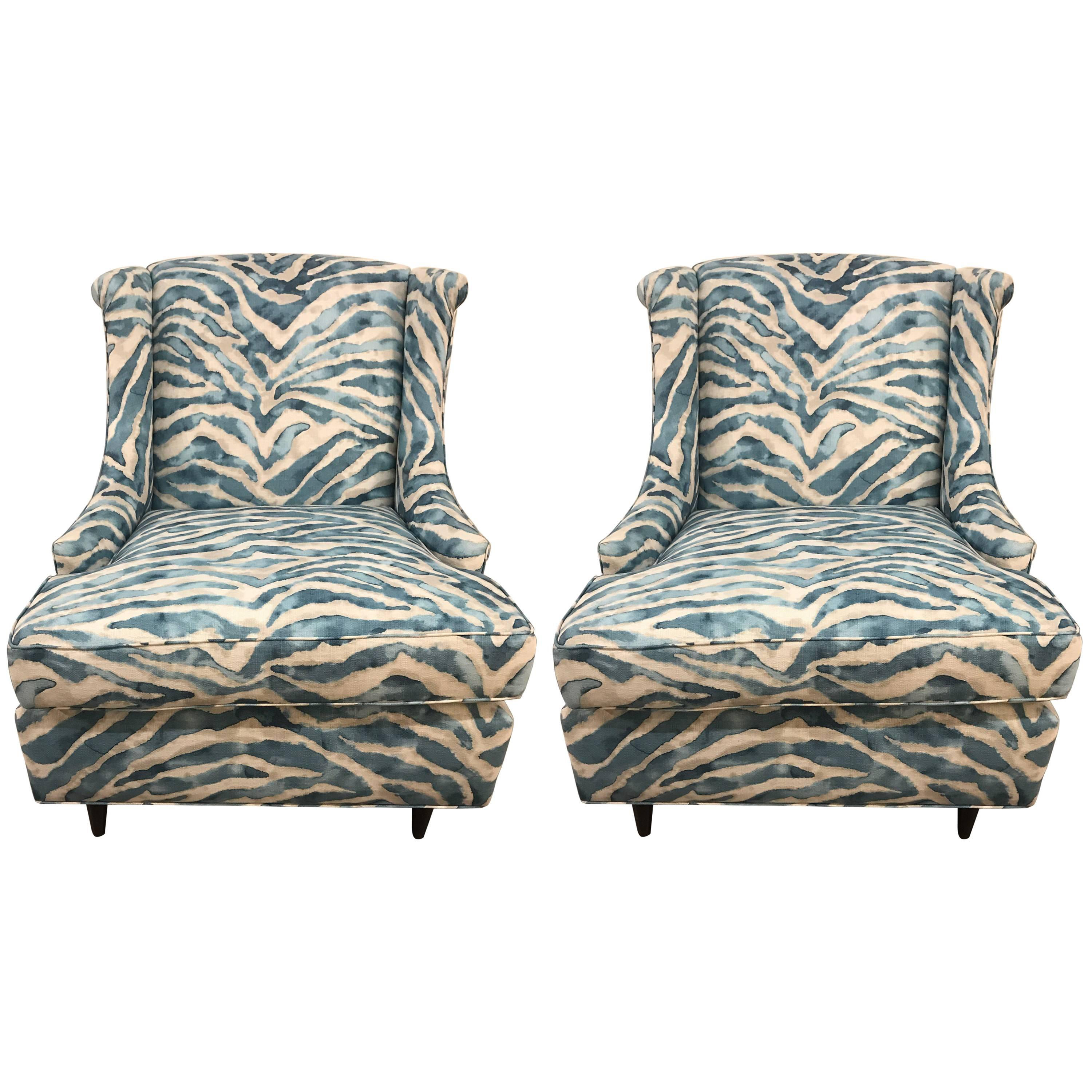Charmant Pair Of Kravet Upholstered Blue Zebra Print Club Wingback Chairs For Sale